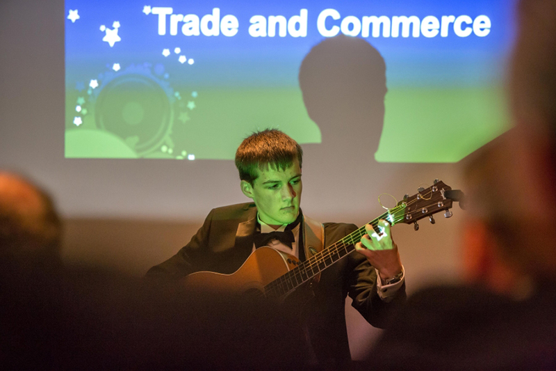 QEGS pupil Andrew Caton entertains the audience